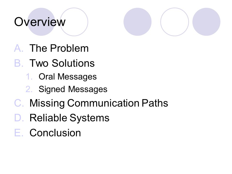 Overview A.The Problem B.Two Solutions 1.Oral Messages 2.Signed Messages C.Missing Communication Paths D.Reliable Systems E.Conclusion
