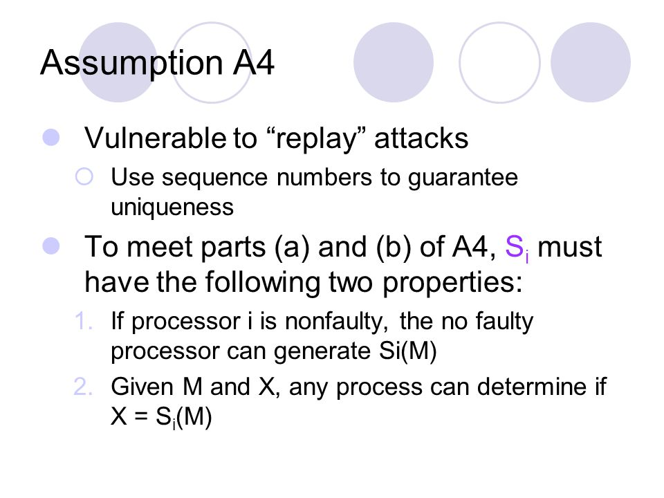 Assumption A4 Vulnerable to replay attacks  Use sequence numbers to guarantee uniqueness To meet parts (a) and (b) of A4, S i must have the following two properties: 1.If processor i is nonfaulty, the no faulty processor can generate Si(M) 2.Given M and X, any process can determine if X = S i (M)