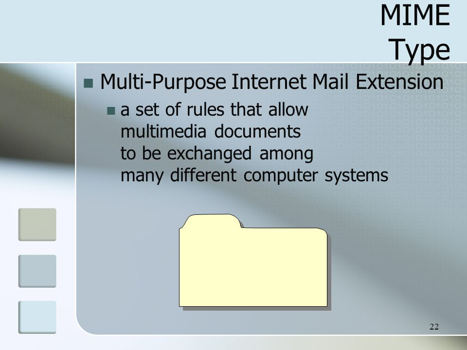 22 MIME Type Multi-Purpose Internet Mail Extension a set of rules that allow multimedia documents to be exchanged among many different computer systems