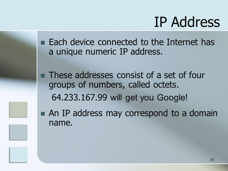 30 IP Address Each device connected to the Internet has a unique numeric IP address.
