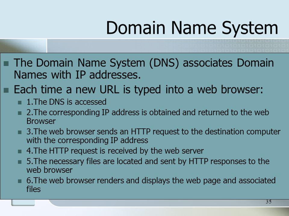35 Domain Name System The Domain Name System (DNS) associates Domain Names with IP addresses.
