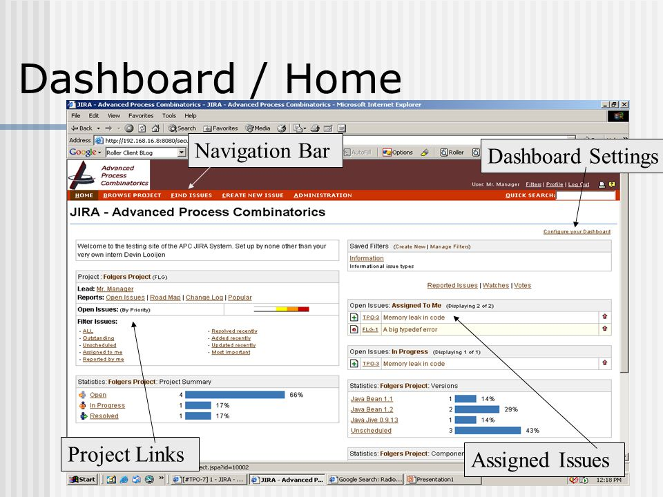 Navigation Bar Dashboard Settings Project Links Assigned Issues Dashboard / Home