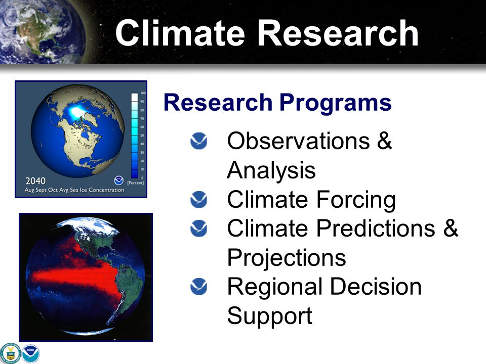 Climate Research Research Programs Observations & Analysis Climate Forcing Climate Predictions & Projections Regional Decision Support
