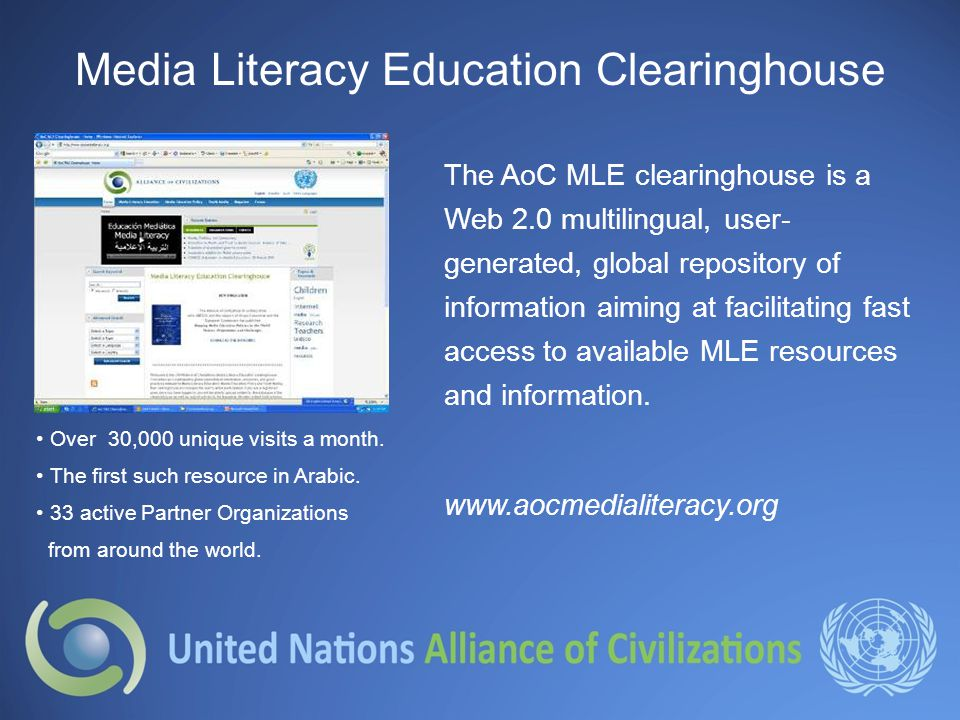 Media Literacy Education Clearinghouse Over 30,000 unique visits a month.