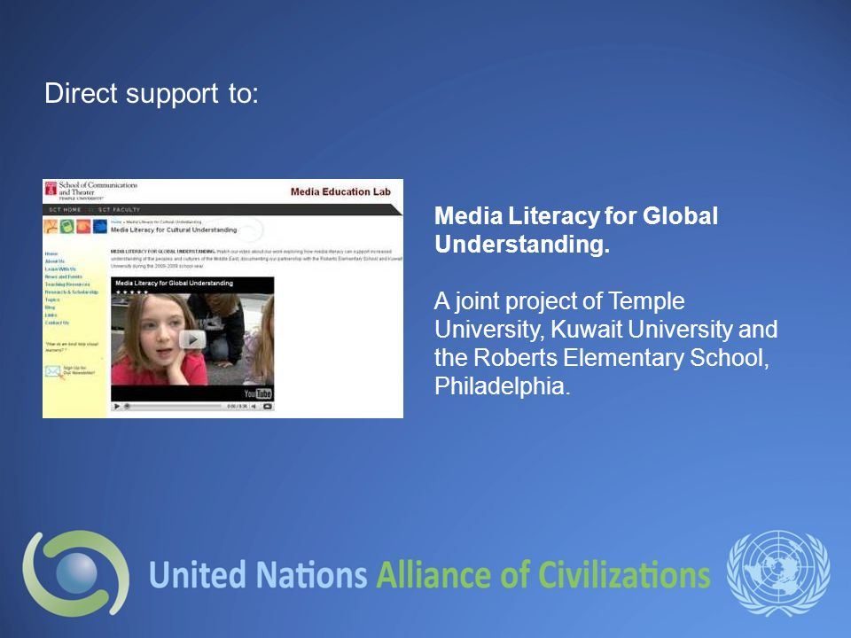Direct support to: Media Literacy for Global Understanding.