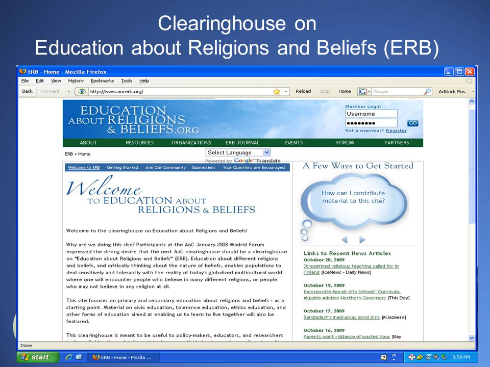 Clearinghouse on Education about Religions and Beliefs (ERB)