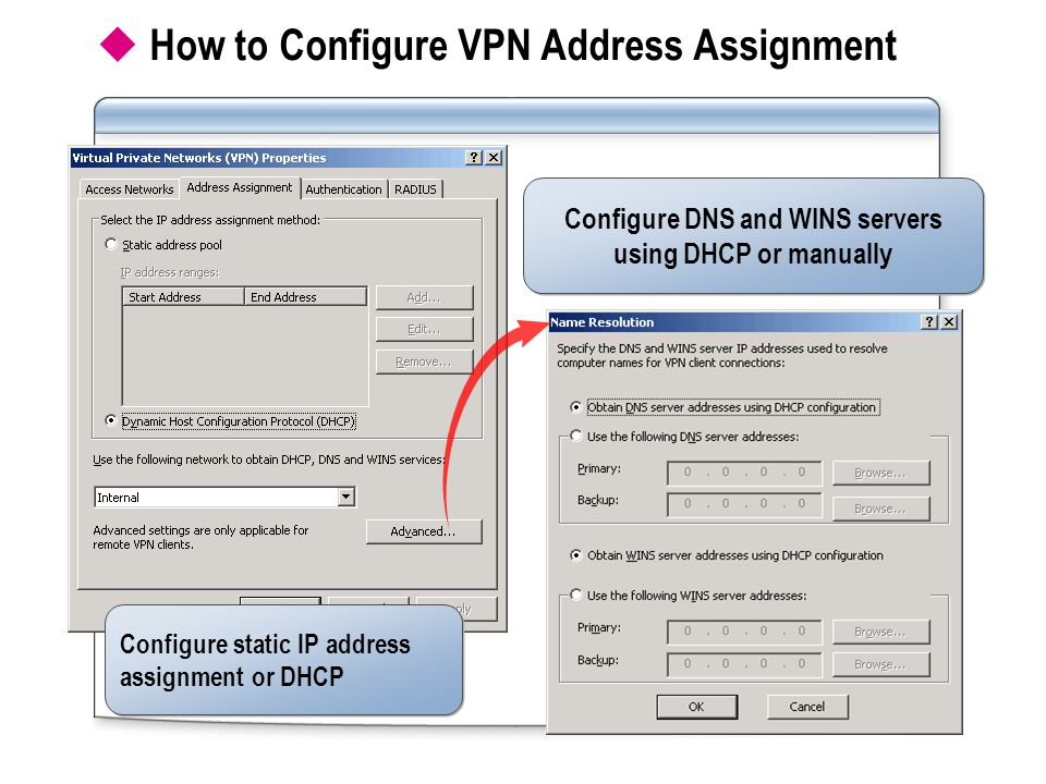  How to Configure VPN Address Assignment Configure static IP address assignment or DHCP Configure DNS and WINS servers using DHCP or manually