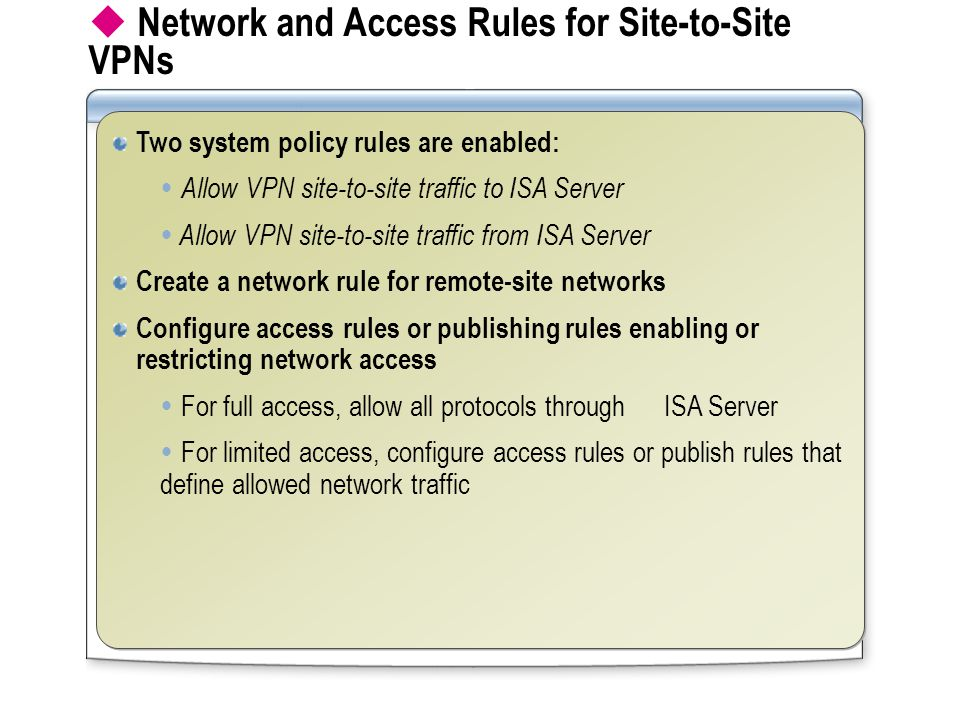  Network and Access Rules for Site-to-Site VPNs Two system policy rules are enabled:  Allow VPN site-to-site traffic to ISA Server  Allow VPN site-to-site traffic from ISA Server Create a network rule for remote-site networks Configure access rules or publishing rules enabling or restricting network access  For full access, allow all protocols through ISA Server  For limited access, configure access rules or publish rules that define allowed network traffic Two system policy rules are enabled:  Allow VPN site-to-site traffic to ISA Server  Allow VPN site-to-site traffic from ISA Server Create a network rule for remote-site networks Configure access rules or publishing rules enabling or restricting network access  For full access, allow all protocols through ISA Server  For limited access, configure access rules or publish rules that define allowed network traffic