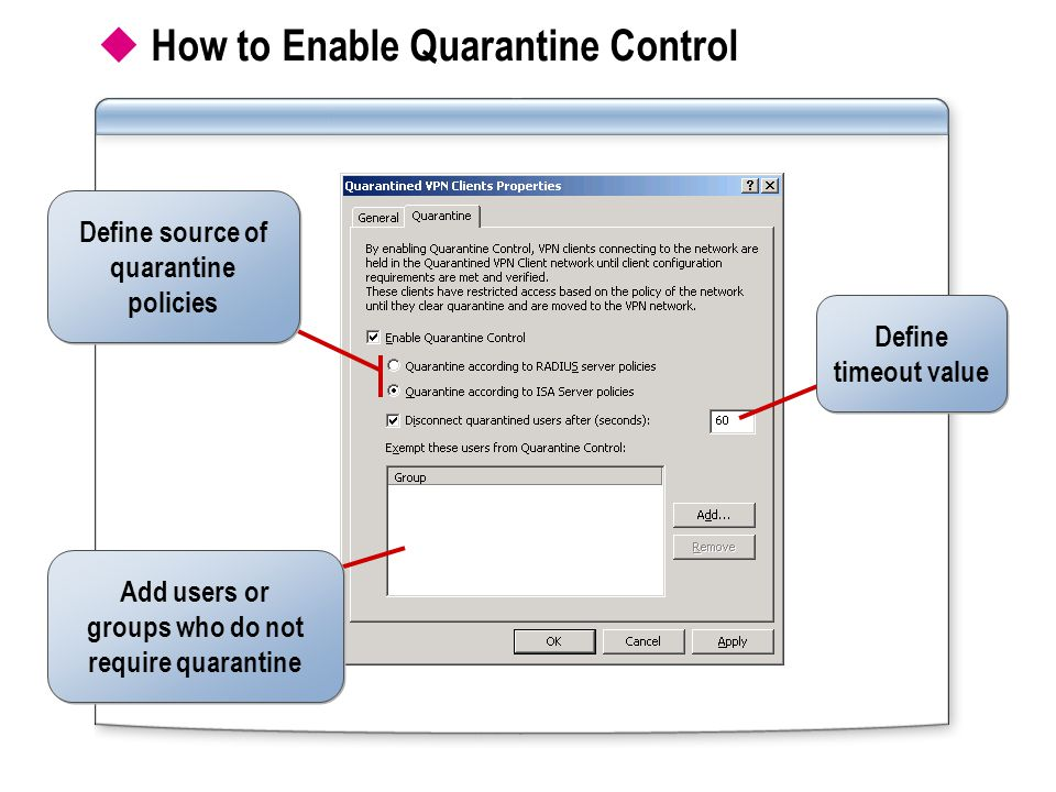  How to Enable Quarantine Control Define timeout value Define timeout value Add users or groups who do not require quarantine Add users or groups who do not require quarantine Define source of quarantine policies Define source of quarantine policies