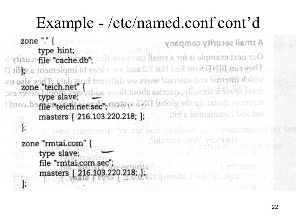 22 Example - /etc/named.conf cont'd