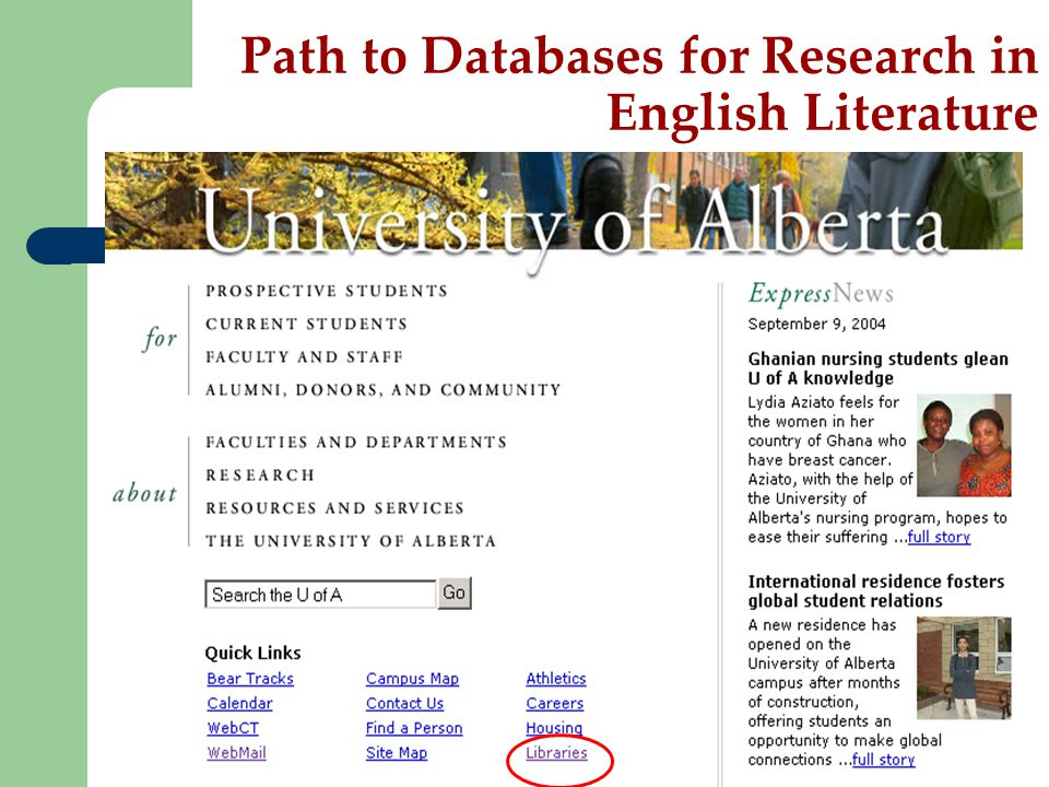 Path to Databases for Research in English Literature