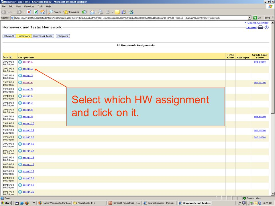 Select which HW assignment and click on it.