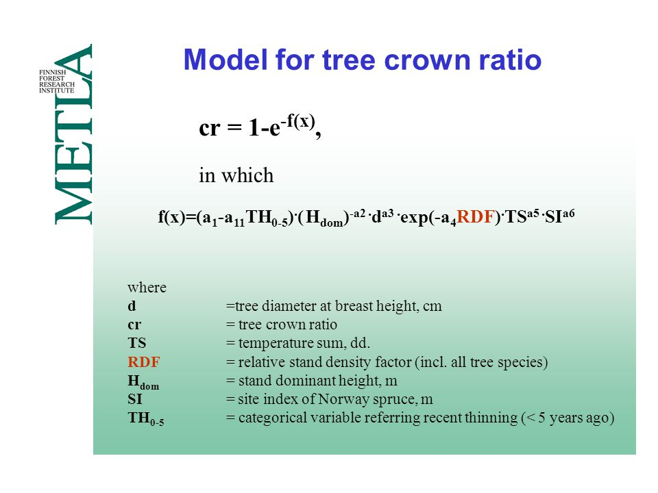 Model for tree crown ratio where d=tree diameter at breast height, cm cr= tree crown ratio TS= temperature sum, dd.