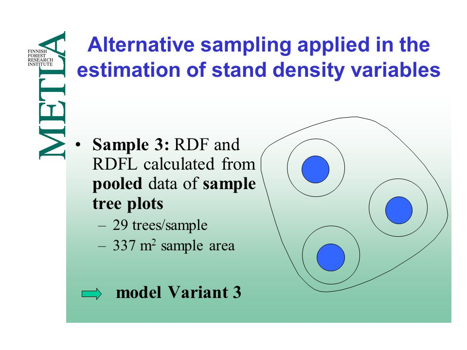 Alternative sampling applied in the estimation of stand density variables Sample 3: RDF and RDFL calculated from pooled data of sample tree plots –29 trees/sample –337 m 2 sample area model Variant 3