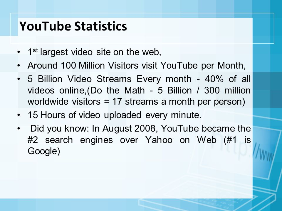 YouTube Statistics 1 st largest video site on the web, Around 100 Million Visitors visit YouTube per Month, 5 Billion Video Streams Every month - 40% of all videos online,(Do the Math - 5 Billion / 300 million worldwide visitors = 17 streams a month per person) 15 Hours of video uploaded every minute.