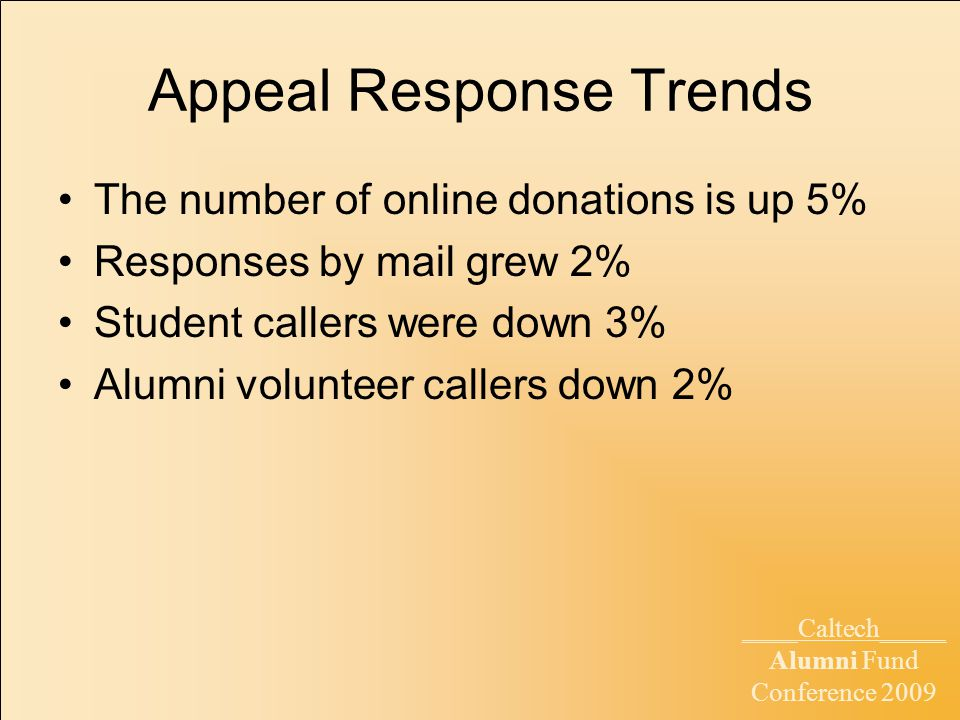 ____Caltech_____ Alumni Fund Conference 2009 Appeal Response Trends The number of online donations is up 5% Responses by mail grew 2% Student callers were down 3% Alumni volunteer callers down 2%