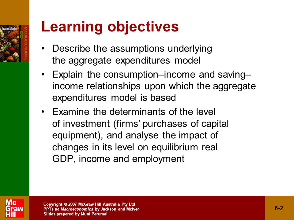 Copyright  2007 McGraw-Hill Australia Pty Ltd PPTs t/a Macroeconomics by Jackson and McIver Slides prepared by Muni Perumal 6-2 Learning objectives Describe the assumptions underlying the aggregate expenditures model Explain the consumption–income and saving– income relationships upon which the aggregate expenditures model is based Examine the determinants of the level of investment (firms' purchases of capital equipment), and analyse the impact of changes in its level on equilibrium real GDP, income and employment