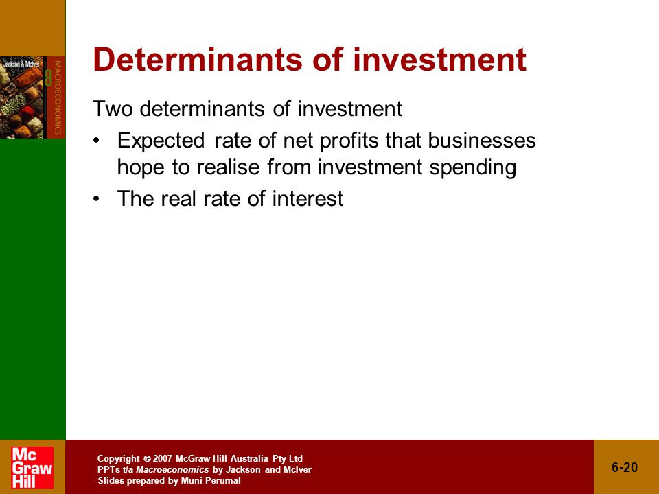 Copyright  2007 McGraw-Hill Australia Pty Ltd PPTs t/a Macroeconomics by Jackson and McIver Slides prepared by Muni Perumal 6-20 Determinants of investment Two determinants of investment Expected rate of net profits that businesses hope to realise from investment spending The real rate of interest