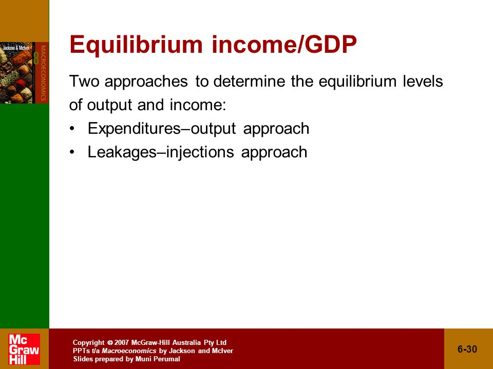 Copyright  2007 McGraw-Hill Australia Pty Ltd PPTs t/a Macroeconomics by Jackson and McIver Slides prepared by Muni Perumal 6-30 Equilibrium income/GDP Two approaches to determine the equilibrium levels of output and income: Expenditures–output approach Leakages–injections approach