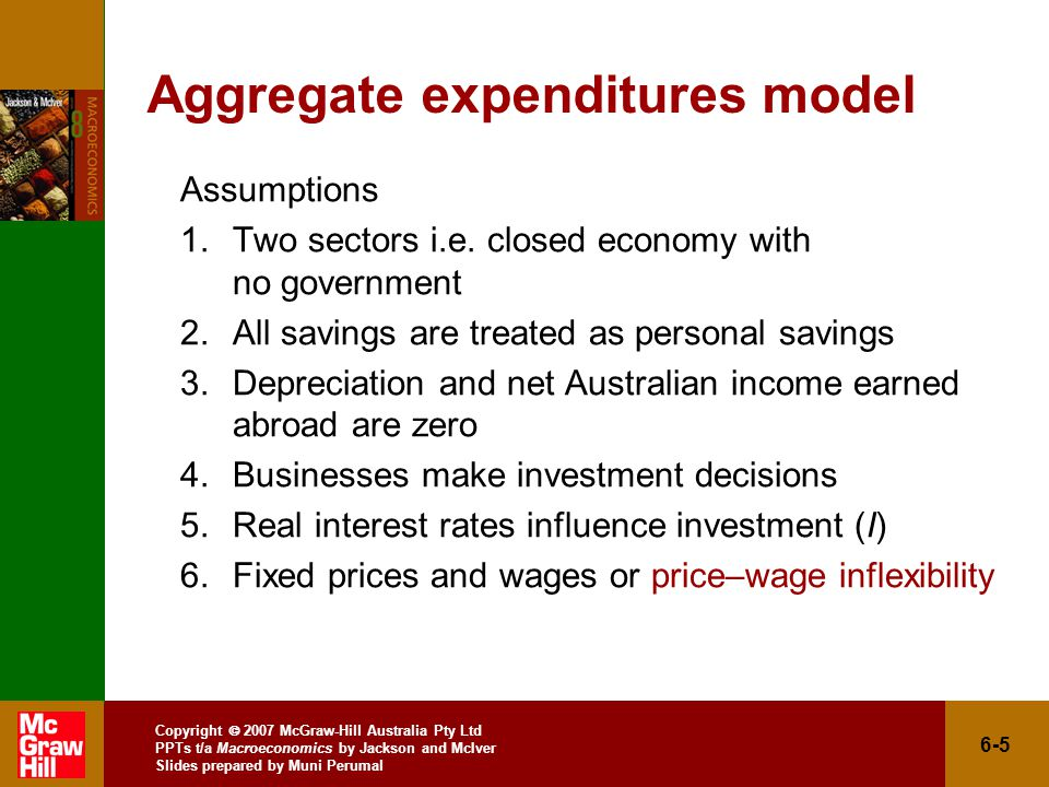 Copyright  2007 McGraw-Hill Australia Pty Ltd PPTs t/a Macroeconomics by Jackson and McIver Slides prepared by Muni Perumal 6-5 Aggregate expenditures model Assumptions 1.Two sectors i.e.