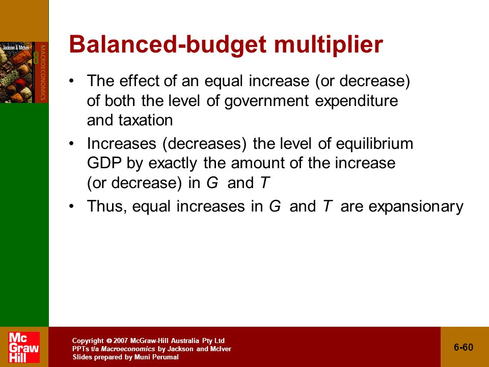 Copyright  2007 McGraw-Hill Australia Pty Ltd PPTs t/a Macroeconomics by Jackson and McIver Slides prepared by Muni Perumal 6-60 Balanced-budget multiplier The effect of an equal increase (or decrease) of both the level of government expenditure and taxation Increases (decreases) the level of equilibrium GDP by exactly the amount of the increase (or decrease) in G and T Thus, equal increases in G and T are expansionary