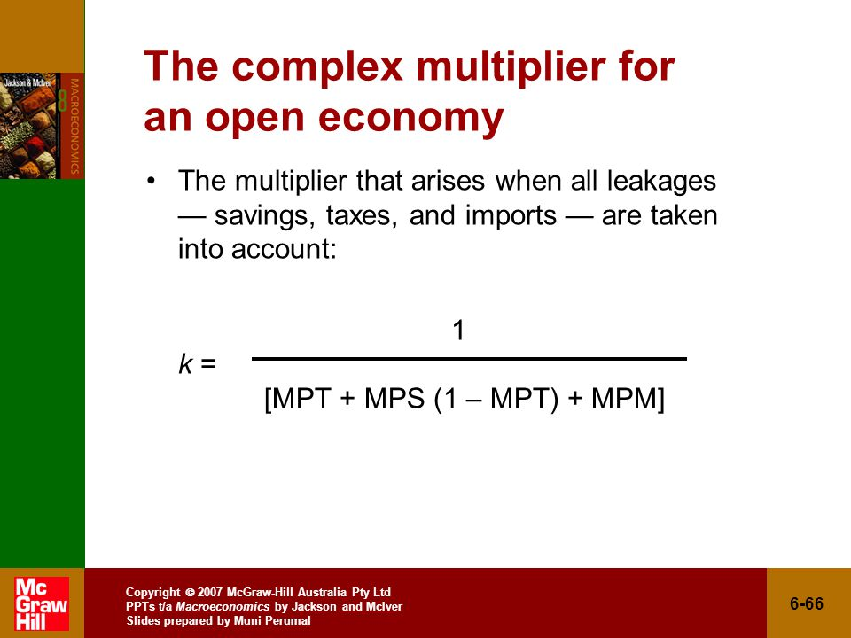 Copyright  2007 McGraw-Hill Australia Pty Ltd PPTs t/a Macroeconomics by Jackson and McIver Slides prepared by Muni Perumal 6-66 The complex multiplier for an open economy The multiplier that arises when all leakages — savings, taxes, and imports — are taken into account: 1 k = [MPT + MPS (1 – MPT) + MPM]