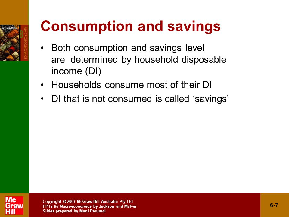 Copyright  2007 McGraw-Hill Australia Pty Ltd PPTs t/a Macroeconomics by Jackson and McIver Slides prepared by Muni Perumal 6-7 Consumption and savings Both consumption and savings level are determined by household disposable income (DI) Households consume most of their DI DI that is not consumed is called 'savings'