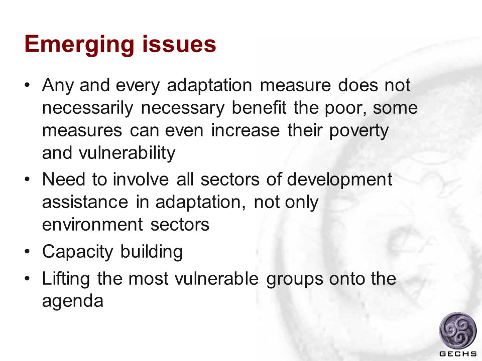Emerging issues Any and every adaptation measure does not necessarily necessary benefit the poor, some measures can even increase their poverty and vulnerability Need to involve all sectors of development assistance in adaptation, not only environment sectors Capacity building Lifting the most vulnerable groups onto the agenda