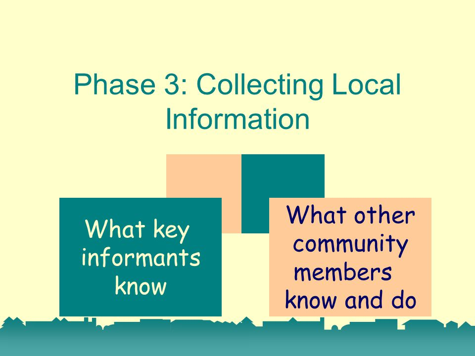 Phase 3: Collecting Local Information What key informants know What other community members know and do