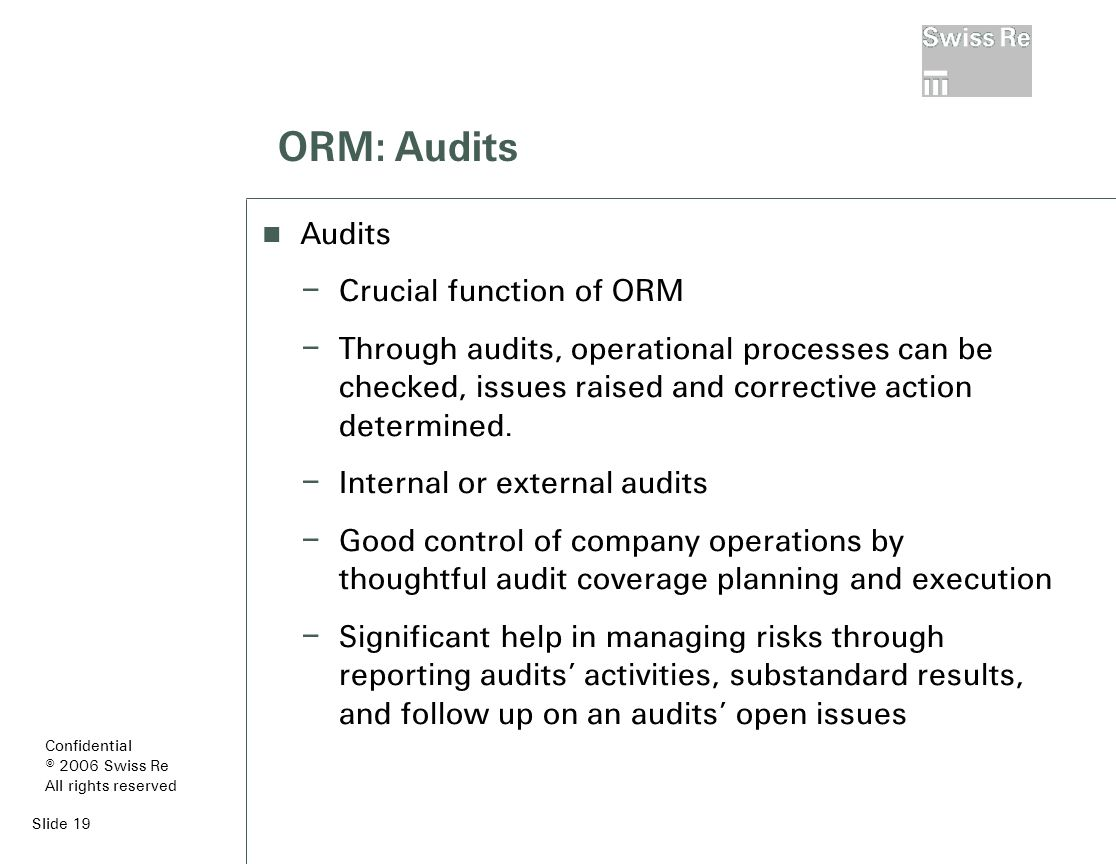 Slide 19 ORM: Audits Audits – Crucial function of ORM – Through audits, operational processes can be checked, issues raised and corrective action determined.