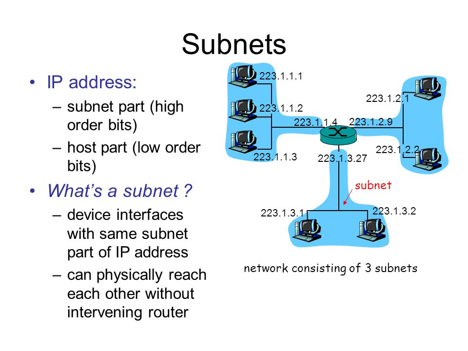 Subnets IP address: –subnet part (high order bits) –host part (low order bits) What's a subnet .
