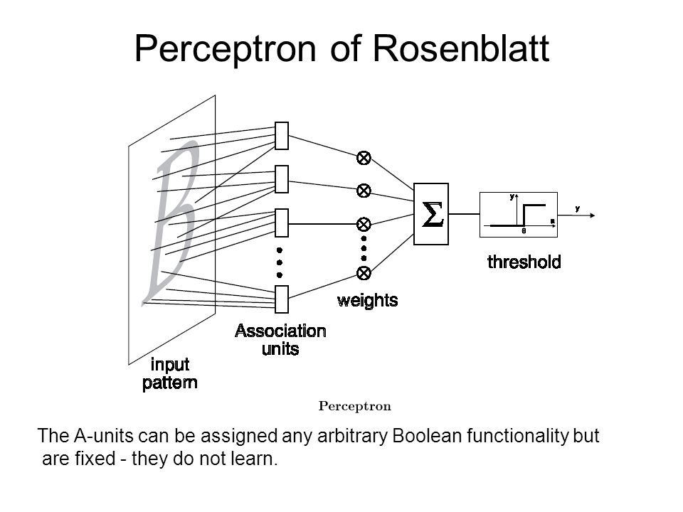 Perceptron of Rosenblatt The A-units can be assigned any arbitrary Boolean functionality but are fixed - they do not learn.
