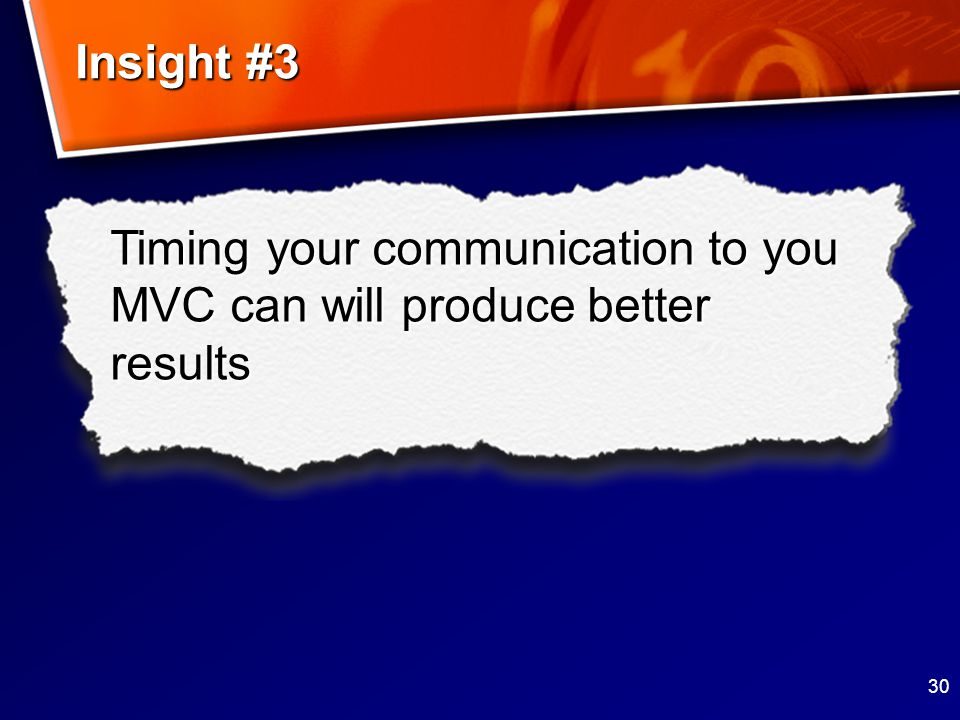 30 Timing your communication to you MVC can will produce better results Insight #3