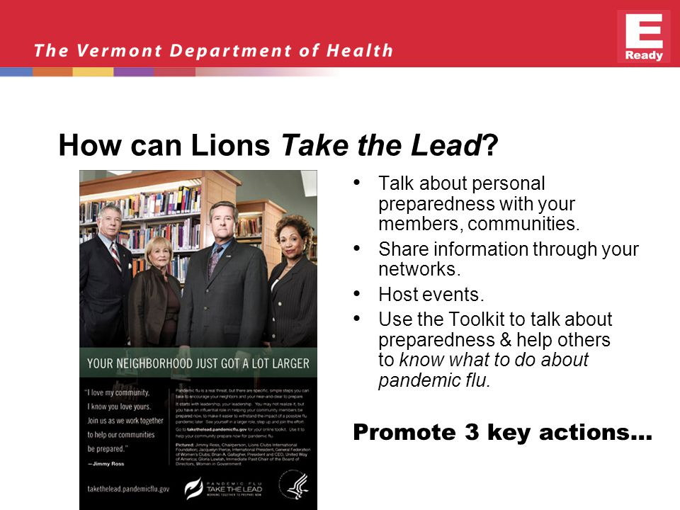 How can Lions Take the Lead. Talk about personal preparedness with your members, communities.