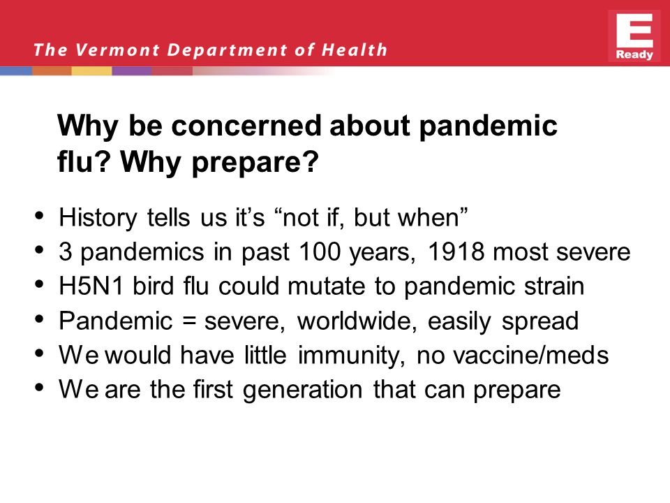 Why be concerned about pandemic flu. Why prepare.