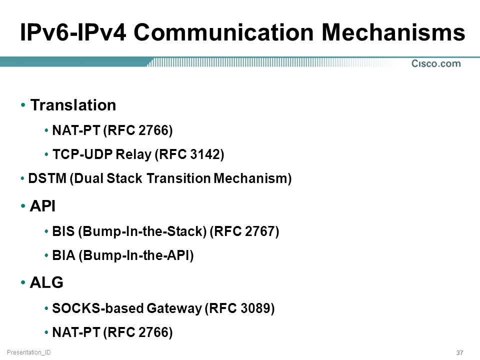 Presentation_ID 37 IPv6-IPv4 Communication Mechanisms Translation NAT-PT (RFC 2766) TCP-UDP Relay (RFC 3142) DSTM (Dual Stack Transition Mechanism) API BIS (Bump-In-the-Stack) (RFC 2767) BIA (Bump-In-the-API) ALG SOCKS-based Gateway (RFC 3089) NAT-PT (RFC 2766)