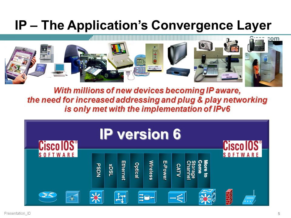 Presentation_ID 555 With millions of new devices becoming IP aware, the need for increased addressing and plug & play networking is only met with the implementation of IPv6 IP – The Application's Convergence Layer EthernetOpticalE-PowerWirelessStorageChannelCATV P S DN xDSL IP version 6 More to Come