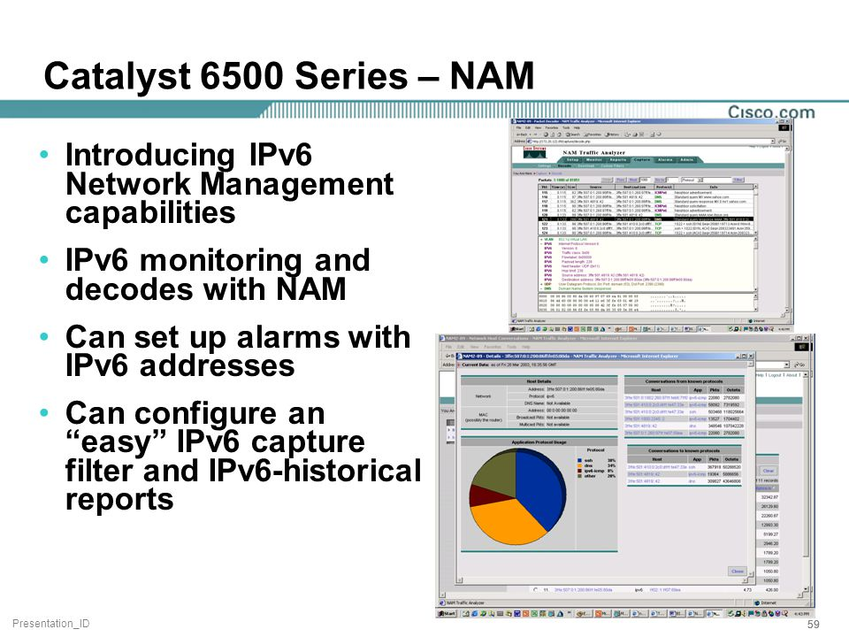 Presentation_ID 59 Catalyst 6500 Series – NAM Introducing IPv6 Network Management capabilities IPv6 monitoring and decodes with NAM Can set up alarms with IPv6 addresses Can configure an easy IPv6 capture filter and IPv6-historical reports