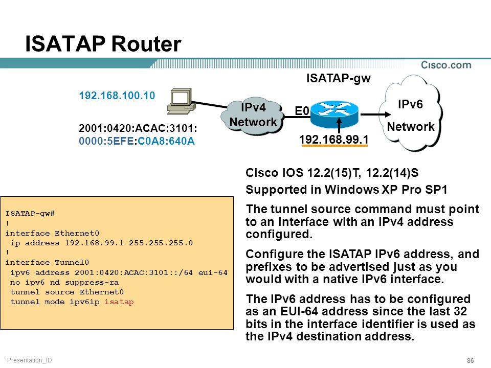Presentation_ID 86 IPv6 Network IPv4 Network ISATAP-gw 192.168.99.1 E0 ISATAP-gw# .