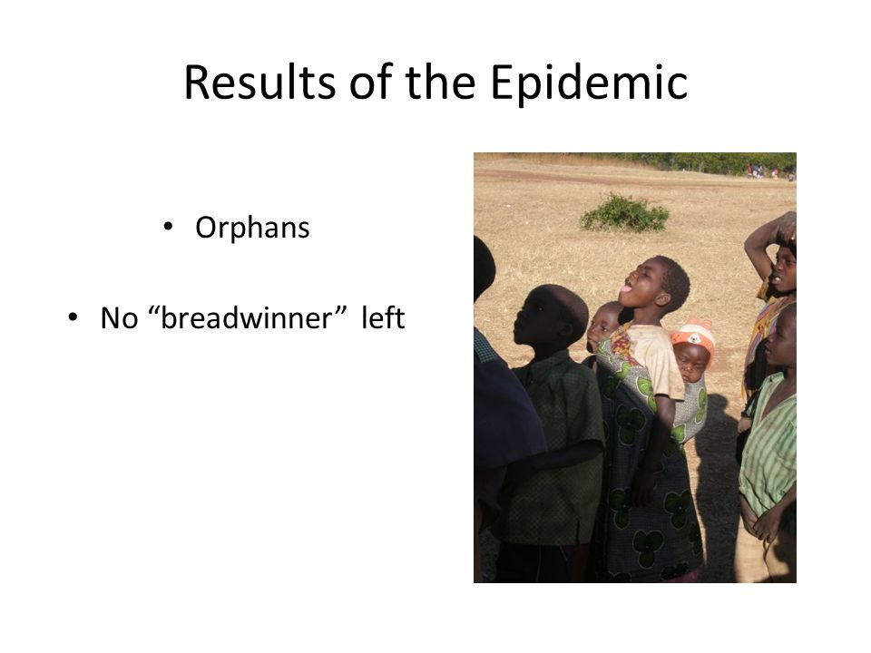Results of the Epidemic Orphans No breadwinner left