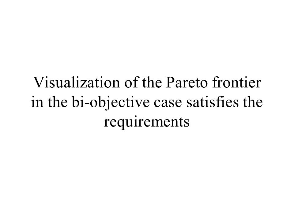 Visualization of the Pareto frontier in the bi-objective case satisfies the requirements
