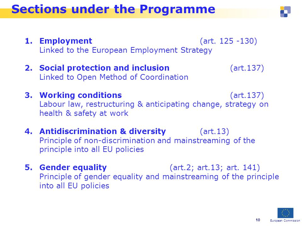 European Commission 10 Sections under the Programme 1.Employment (art.