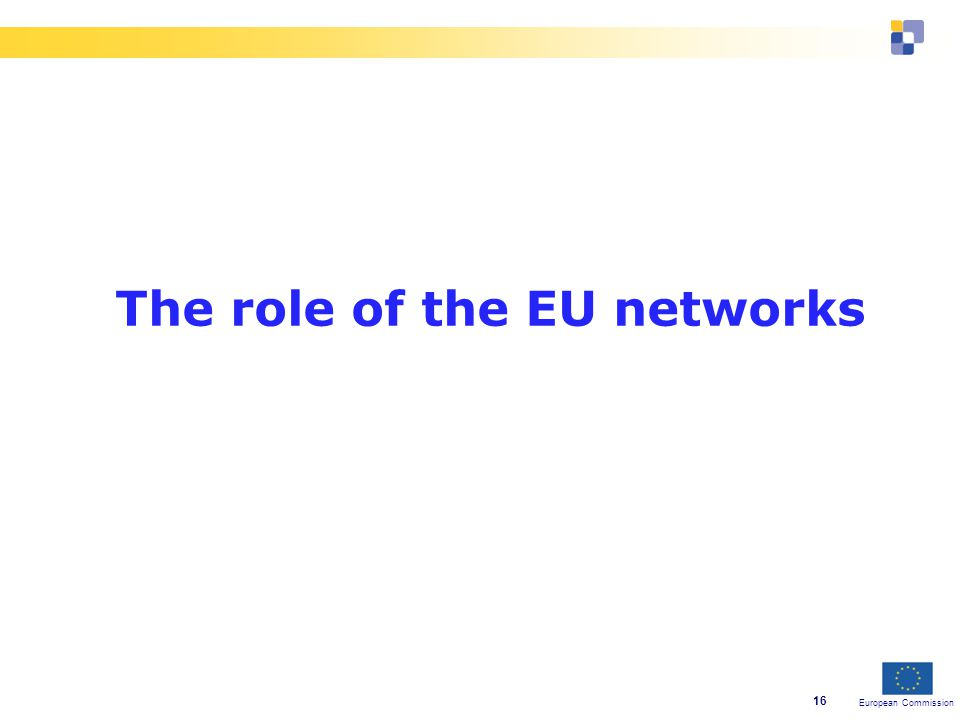 European Commission 16 The role of the EU networks