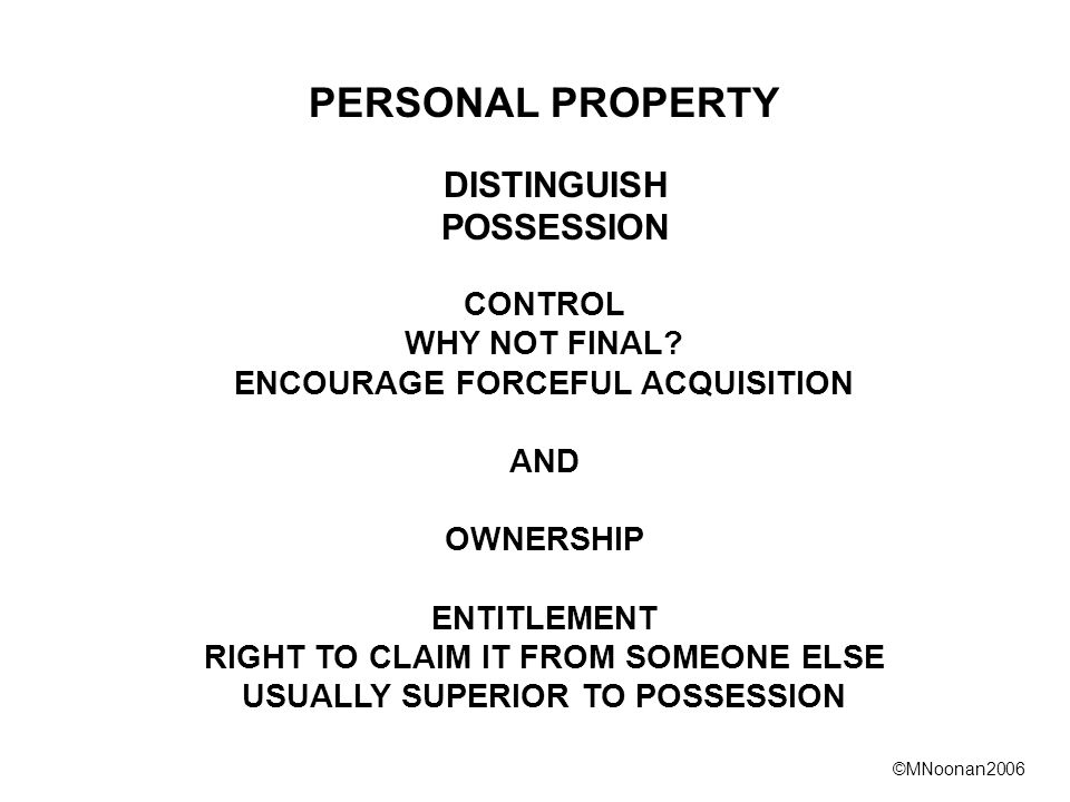 ©MNoonan2006 PERSONAL PROPERTY DISTINGUISH POSSESSION CONTROL WHY NOT FINAL.