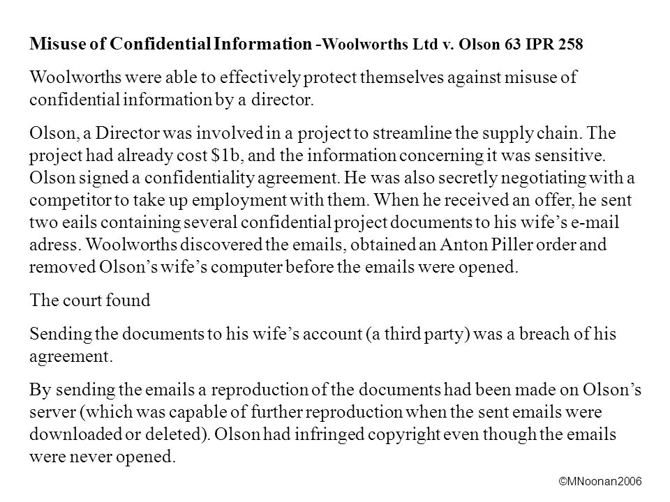 ©MNoonan2006 Misuse of Confidential Information - Woolworths Ltd v.