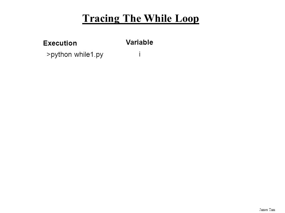 James Tam Tracing The While Loop Variable i Execution >python while1.py