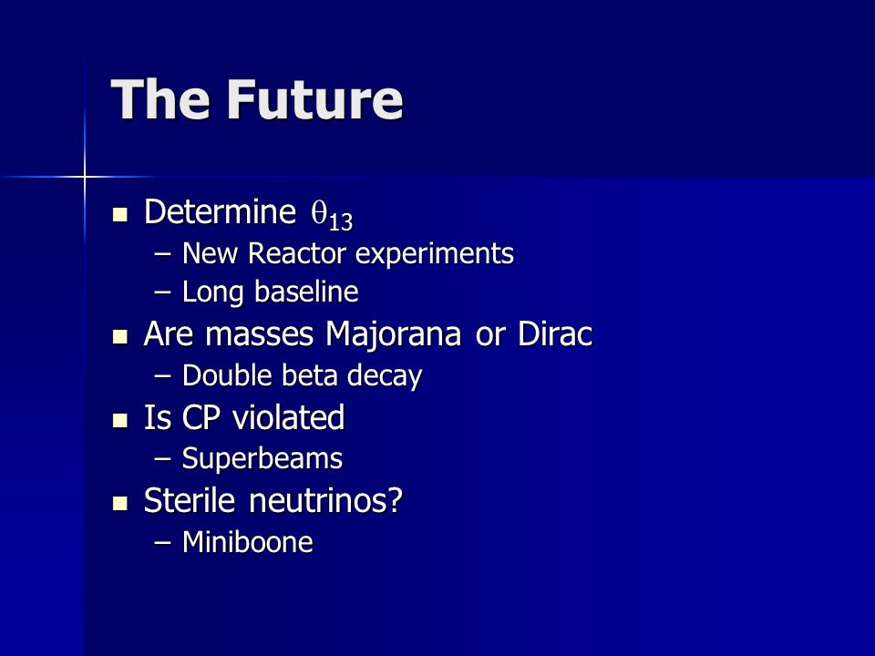 The Future Determine  13 Determine  13 –New Reactor experiments –Long baseline Are masses Majorana or Dirac Are masses Majorana or Dirac –Double beta decay Is CP violated Is CP violated –Superbeams Sterile neutrinos.