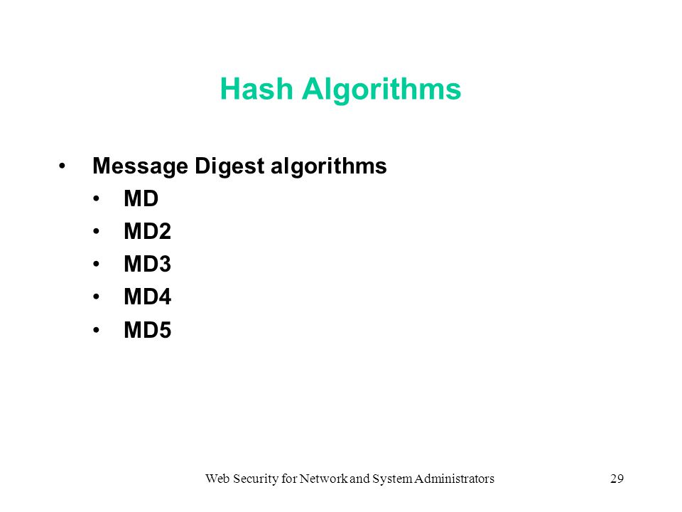 Web Security for Network and System Administrators29 Hash Algorithms Message Digest algorithms MD MD2 MD3 MD4 MD5
