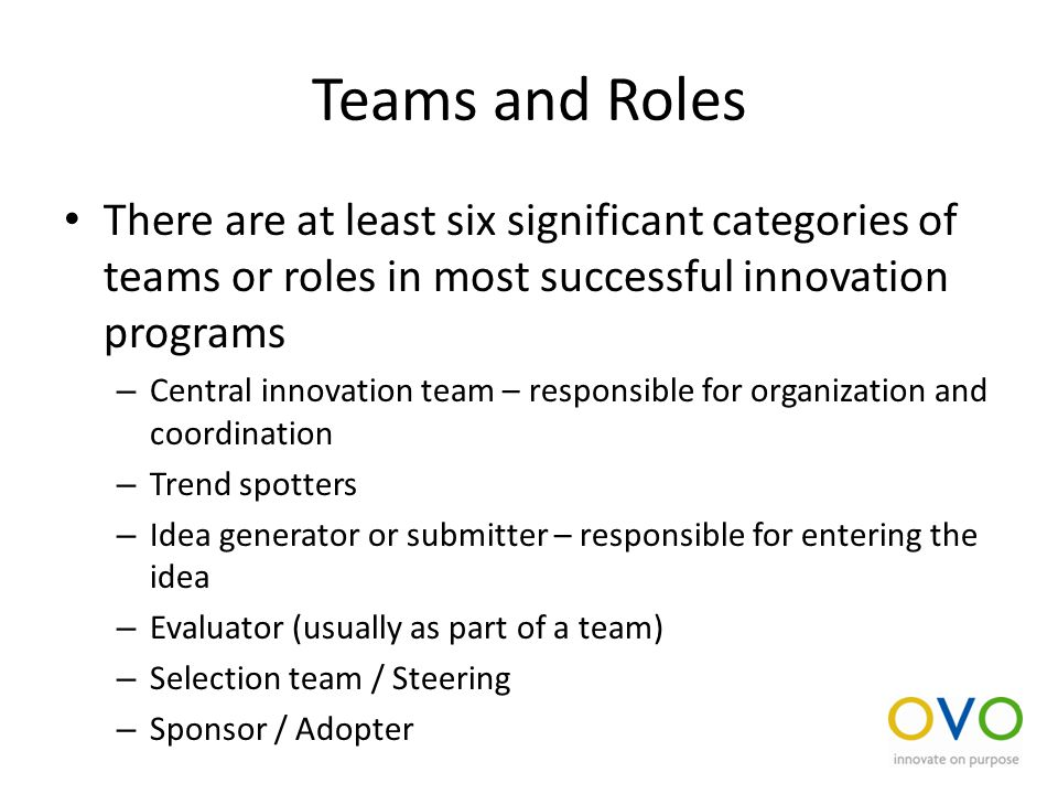 Teams and Roles There are at least six significant categories of teams or roles in most successful innovation programs – Central innovation team – responsible for organization and coordination – Trend spotters – Idea generator or submitter – responsible for entering the idea – Evaluator (usually as part of a team) – Selection team / Steering – Sponsor / Adopter
