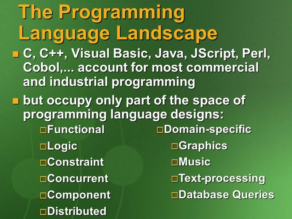 the programming language landscape c c visual basic java jscript